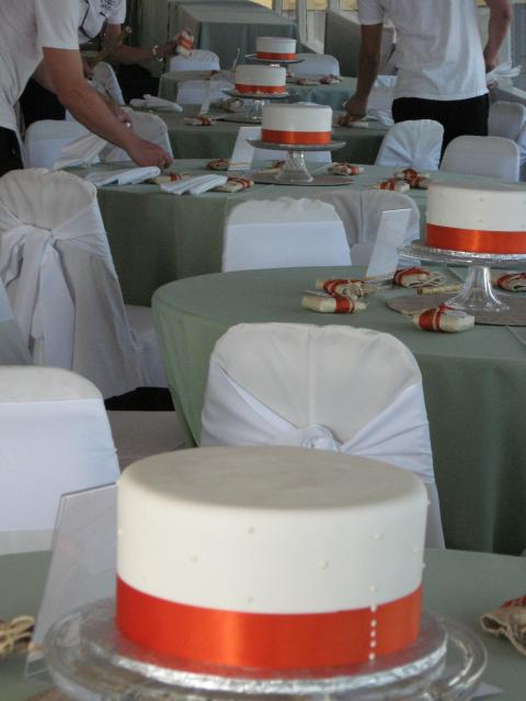 The finished cakes - center pieces on the tables