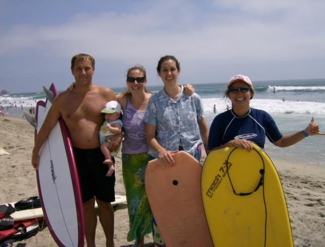 AM surf on 4th of July with sister workers Corle & Sara